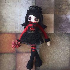 Gothic doll, rag doll, steampunk doll, cute doll, punk doll, punk rock doll, OOAK doll, mixed media art doll, goth doll, emo doll, amigurumi by CreativeChaosArts on Etsy
