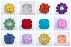 Original NotKnot pillows by Umemi on Etsy: Love them in clusters. And wow, the colors!