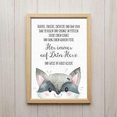 Hör Auf Dein Herz Kunstdruck DIN A4 Waschbär Spruch Bild Druck Kinderzimmer Deko