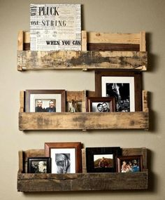 Recycled shipping pallet shelves