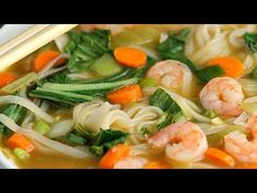 Asian Rice Noodle Soup with Shrimp - The Weary Chef