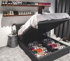 Sneaker Storage Goals 😍That is a collection! Hypebeast Room, Sneaker Storage, Shoe Room, Room Setup, Dream Rooms, New Room, Bedroom Decor, Bedroom Sets, Master Bedroom