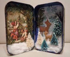 Altered Christmas Altoids Tin by NC_stamper - Cards and Paper Crafts at Splitcoaststampers by lessie Noel Christmas, All Things Christmas, Vintage Christmas, Christmas Ornaments, Christmas Projects, Holiday Crafts, Decoupage, Christmas Shadow Boxes, Altered Tins