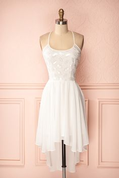 Leigh - White veil high-low halter dress with sequined bust