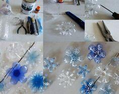 schneeflocken dekorationen weihnachten plastikflaschen bemalen