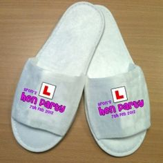 £5.50 Personalised Hen Party L Plate Wedding Spa Slippers