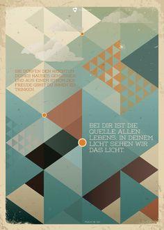 """Bibelvers auf dem Poster: """"Sie dürfen den Reichtum deines Hauses genießen, und aus einem Strom der Freude gibst du ihnen zu trinken. Bei dir ist die Quelle allen Lebens, in deinem Licht sehen wir das Licht."""" - Psalm 36,9+10"""