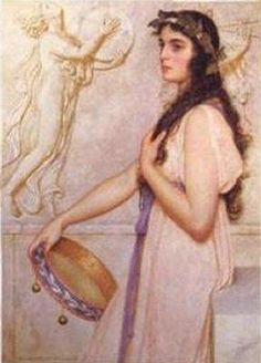 Girl with Tambourine by George Lawrence BULLEID. English painter, 1858-1933. Oil and watercolour, of figure and mythological subjects and still-life. Born at Glastonbury, son of a local solicitor. Exhibited at the principal London galleries from 1884, mainly at the Royal Watercolour Society, Royal Academy (1888-1913), and Royal Institute of Painters in Watercolour (RWS). Elected  1889. Titles at the Royal Academy included 'Sacred to Venus', 1888 and 'An Offering to Apollo', 1889.