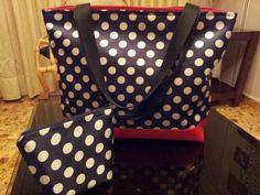 Maxi bolso polka ♥ con porta cosméticos.