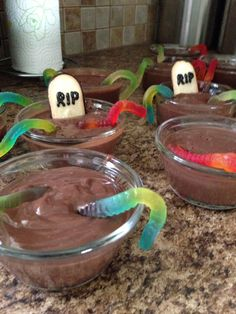 """Monster high party snacks - easy chocolate pudding with gummi worms. Milano cookies as headstones, write """"RIP"""" in black icing, sprinkle some graham cracker or oreo crumbs over the top and easy, cute and in theme snack for a monster event!"""