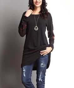 Look at this #zulilyfind! Black Paisley Contrast-Sleeve Tunic by Reborn Collection #zulilyfinds $34