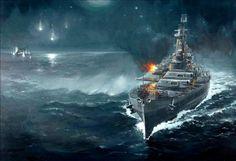 battleship war battle ship boat military art painting wallpaper background