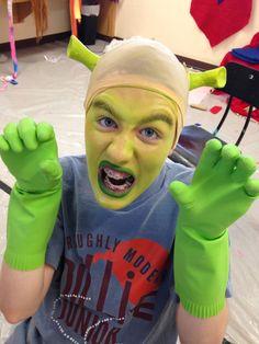 Shrek costume off of amazon lime green spandex cowl foam - Anne de shrek ...