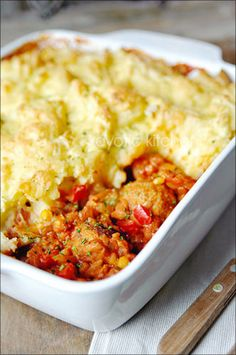 Mashed Potato Topped..Chili Meatball Casserole