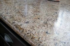 This lady painted her old countertops to look like granite! That's talent. Check out her whole budget kitchen makeover!