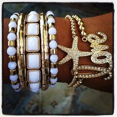 5 x wrap bracelet, gold starfish, and gold pave encrusted love bracelet. Bracelets expandable. {Instagram deals are different from web prices}