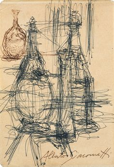 Alberto Giacometti Drawing objects in a more expressive style Alberto Giacometti, Object Drawing, Gesture Drawing, Line Drawing, Figure Painting, Painting & Drawing, Famous Sculptures, Still Life Drawing, Drawing Techniques