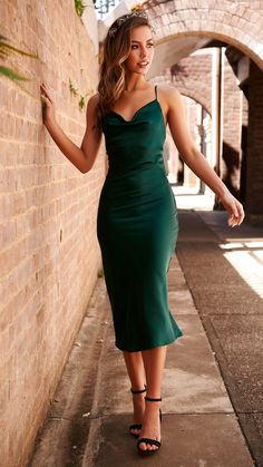 Stunning silky midi dress in Emerald! Cowl neckline Low cut back Adjustable straps Smooth silky material Back leg split Polyester Model wears a size 10 Available in Navy & Green Model details: Height / Bust / Waist / Hip / Model is wearing a size Satin Dresses, Ball Dresses, Evening Dresses, Gowns, Slep Dress, Bridesmaid Dresses, Prom Dresses, Formal Dresses, Green Midi Dress