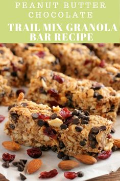 The MUST have granola bar recipe for all your summer adventures. - These Peanut Butter Chocolate Trail Mix Granola Bars are made with wholesome ingredients to create - Trail Mix Granola Bar Recipe, Granola Bars Peanut Butter, No Bake Granola Bars, Homemade Granola Bars, Healthy Peanut Butter, Chocolate Peanut Butter, Chocolate Granola, Healthy Snacks, Healthy Bars