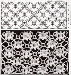 although these two do not match I like the chart patternThis Pin was discovered by May The image actually matches the pattern here! This stitch is first cousins with the crocodile stitch. Crochet Stitches Chart, Crochet Motifs, Crochet Borders, Crochet Diagram, Crochet Doilies, Crochet Lace, Filet Crochet, Stitch Patterns, Knitting Patterns