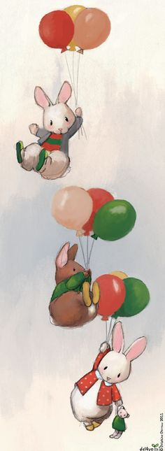 by Delphine Doreau ~ Illustration With Colourful Balloons Lapin Art, Arte Indie, Wallpaper Fofos, Art Mignon, Bunny Art, Children's Book Illustration, Balloon Illustration, Animal Illustrations, Digital Illustration