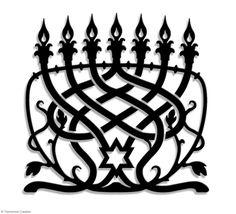 """Metal ornament MENORAH CLASSIC - Jewish Art -  40 cm et plus / 16"""" and more - Laser cutting design - © Tolonensis Creation"""