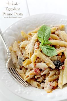 Baked Eggplant Penne Pasta - Baked Eggplant Penne Pasta   Easy, quick and cheesy Baked Eggplant Penne Pasta made with chunks of eggplant, ricotta, mozzarella, tomatoes and garlic tossed with penne pasta and baked.