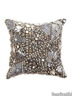 Jeweled Pillow by Donna Karan Collection. #pillow #sparkle
