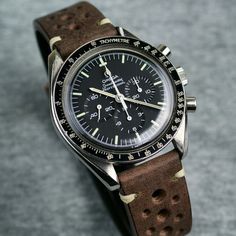Omega Speedmaster // B & R Bands Saddle Brown Vintage Racing Strap!!!