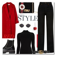 """""""Be Bold In Red"""" by prettynposh2 ❤ liked on Polyvore featuring Alexander Wang, Misha Nonoo, Frontgate, Miu Miu, Khaite, Gucci, red, ankle and miu"""