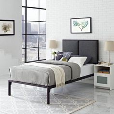 Modway Della Queen Upholstered Platform Bed, Multiple Colors, Gray