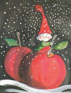 Virpi Pekkala Christmas Fairy, Christmas Clipart, All Things Christmas, Christmas Cards, Baumgarten, Elves And Fairies, Fairytale Fantasies, Christmas Illustration, Whimsical Art
