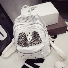 New fashion trendy women soft PU leather rivet backpacks women's double back packs girl punk hip-hop motorcycle bags A25