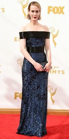 Sarah Paulson - Emmys 2015 Red Carpet Arrivals - in a custom Prabal Gurung dress, Brian Atwood shoes, and custom Jennifer Meyer jewelry - from InStyle.com