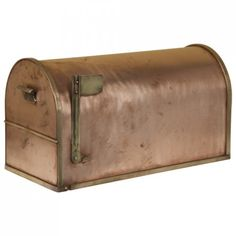 Classic Post Mount Copper Mailbox with Brass Accents