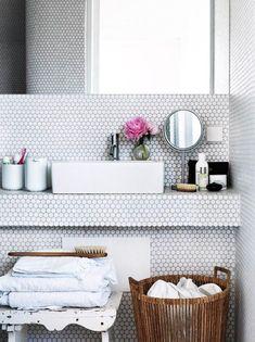 ModDotz Marshmallow White Porcelain Penny Round Tile | Modwalls Tile