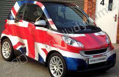 Smart Fortwo wrapped in printed Union Jack wrap