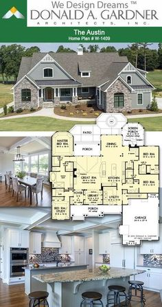 Kitchen and dining room of The Austin house plan 1409 2966 sq ft 4 Beds 4 Baths Family House Plans, Ranch House Plans, Craftsman House Plans, Country House Plans, New House Plans, Dream House Plans, Modern House Plans, Small House Plans, House Floor Plans