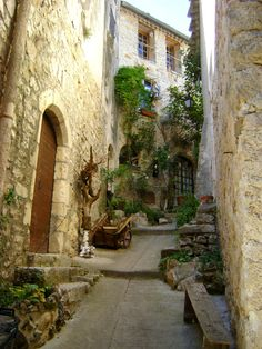 Summer street by ~Emystick-stocks on deviantART - this is from Saint Guilhem le Desert, France. Want to go!