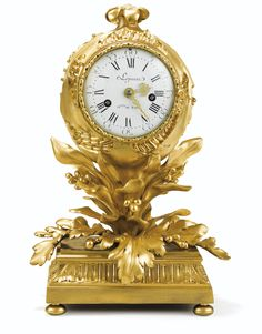 """A GILT BRONZE-""""POMEGRANATE"""" MANTEL CLOCK, LOUIS XV, CIRCA 1770-1775, SIGNED THE DIAL LEPAUTE HGER KING the dial signed Lepaute / Hger KING and exploded part of a pomegranate, was adorned with leaves and seeds, based on a fluted base ended with flattened ball feet; the dial signed on the reverse Barbezat; signed and dated springs Richard 1774"""