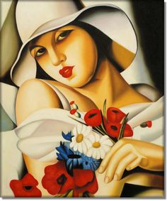 """Tamara de Lempicka (Łempicka) (16 May 1898 – 18 March 1980), born Maria Górska in Warsaw, Poland,[1] was a Polish Art Deco painter and """"the first woman artist to be a glamour star""""."""