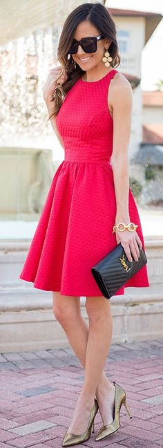 Red Skater Dress Fall Party Style Inspo by Sequins & Things: