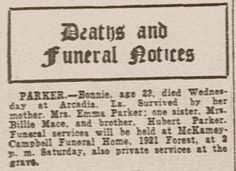 Bonnie Parker's obituary legendary Bonnie and Clyde