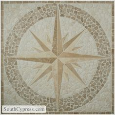"""Medallion 36"""" Square - Compass Rose Beige / Noce Travertine By SouthCypress.com"""