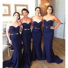 Elegant Dark Navy Blue Bridesmaid Dresses Long Mermaid Bridesmaid Dress With Belt Sexy Simple Sweetheart Bridesmaid Gowns B28