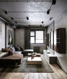 What do you think about this color scheme? Mini Loft is des… Interior Design Examples, Industrial Interior Design, Industrial Interiors, Interior Design Inspiration, Home Interior Design, Interior Architecture, Rustic Industrial, Interior Sketch, Industrial Living