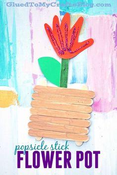 Popsicle Stick Handprint Flower Pot - Kid Craft Idea