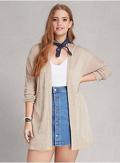 """<p>Every girl needs a casual cardi in their wardrobe rotation; this one just happens to be the best (just sayin'). Spun in a silky-soft taupe hacci knit, the lightweight weave is a longer-length with an open front so you can show off your amazing outfit underneath.</p>  <p></p>  <p><b>Model is 5'9"""", size 1</b></p>  <ul> <li>Size 1 measures 30 3/4"""" from shoulder</li> <li>Rayon</li> <li>Hand wash cold, dry flat</li> <li>Made in USA plus size cardigan</li> </ul>"""