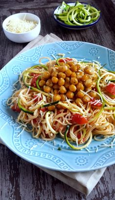 Lighter Capellini Pomodoro with Garlicky Roasted Chickpeas & Zoodles @zenandspice