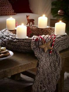 weihnachtsdeko basteln kranz gestrickt